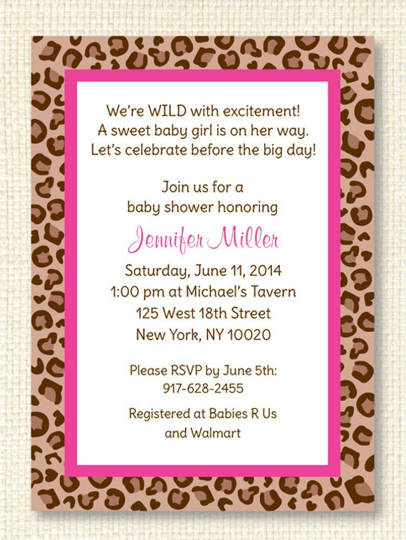 pink cheetah printable baby shower invitation editable text