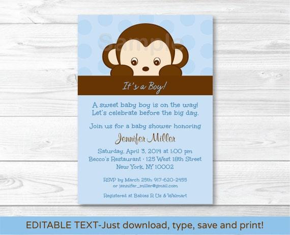 Cute monkey baby shower invitation monkey baby shower invite il570xn filmwisefo
