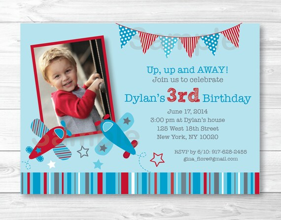 Cute airplane birthday invitation airplane birthday invite red il570xn filmwisefo