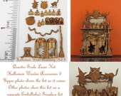 KIT Halloween or Autumn Accessories 3 Laser Cut KIT, owl, witch, broom, witch shoes 1/4 inch, 1:48, quarter scale dollhouse miniature