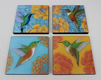 Mixed Media Collage - Hummingbird Print of Original Acrylic Painting - Wall Art and Home Decor by Tamara Adams