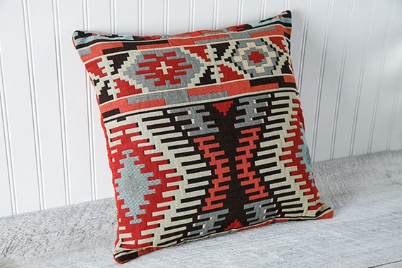 Southwestern Pillow Cover, Geometric, Decorative Cushion Case,  Rust, Blue, Beige, Black, Modern