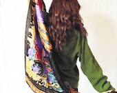 HUGE Silk Scarf Shawl - Vintage Tongyu China - 1980s Black Floral with Purple and Gold