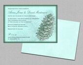 Winter wedding invitations, pine cone invitations, mint green, woodland wedding, forest invitations