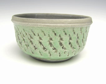 Modern Succulent planter Contemporary Bonsai planter Cactus planter Herb planter Ceramic planter Green Raku 6 1/4 x 3 1/2  h-1