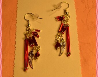 Red Bugle,Crystal and Wing Charm Earrings