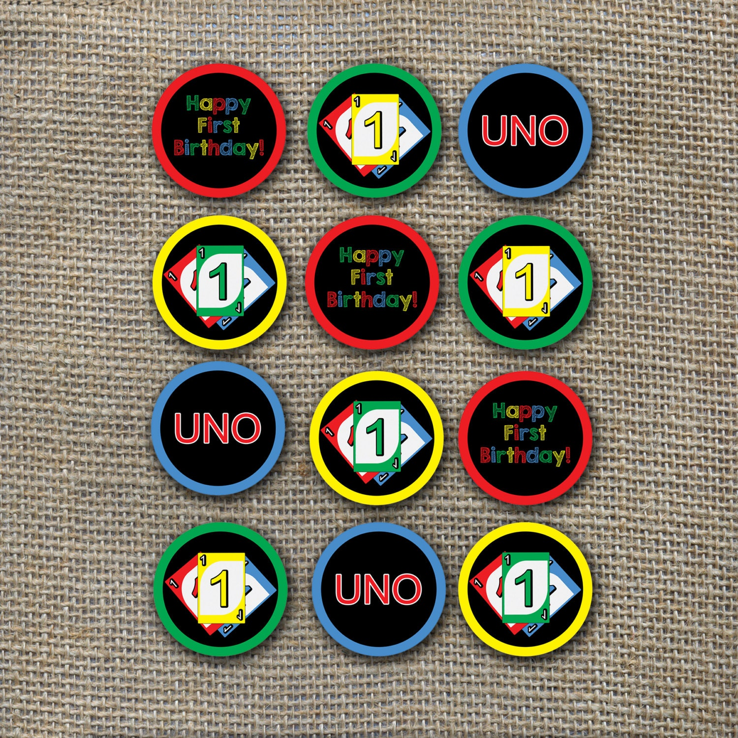 Uno Card Game Theme Birthday Cupcake Toppers Old By