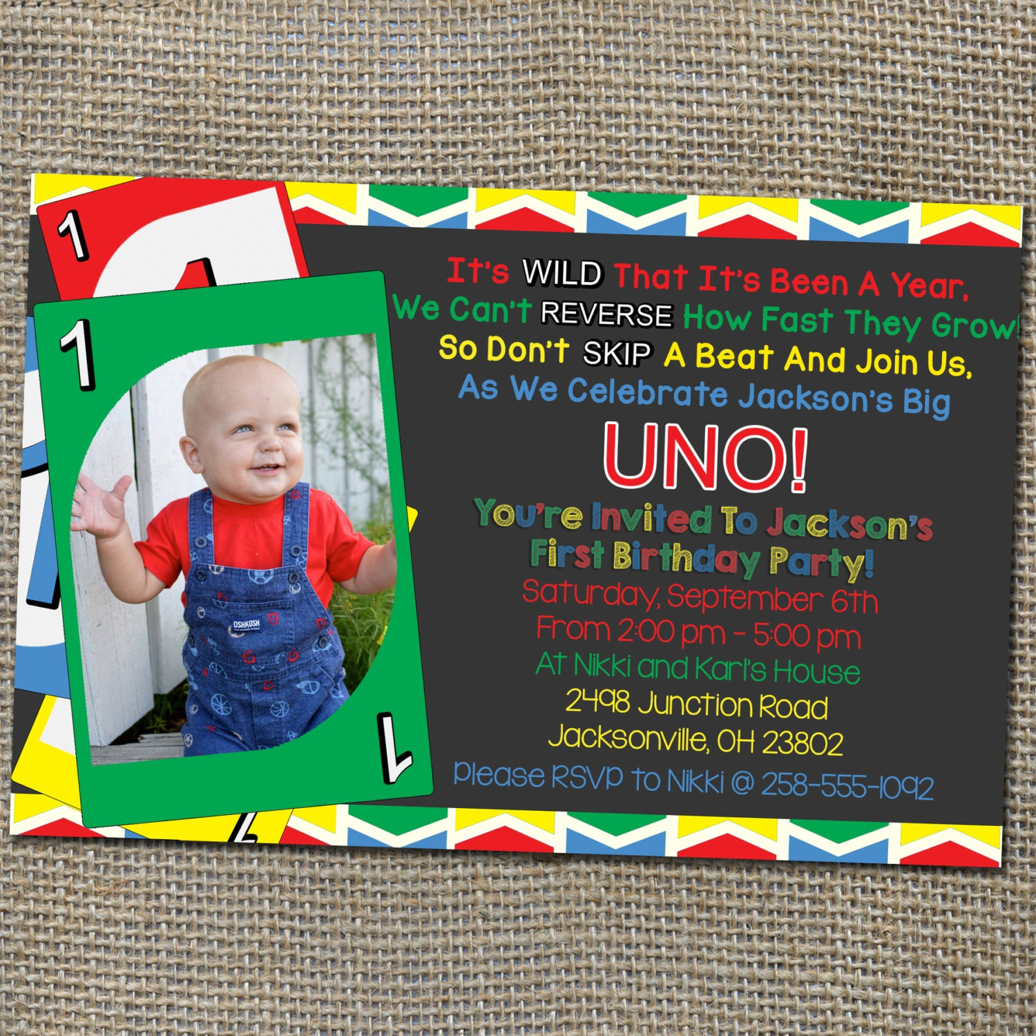 Uno Card Game Theme Birthday Invitation Old By WorldOfThought