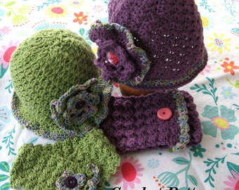 Crochet Pattern Hat And Neck Warmer With Large Flower Trim Young Girls To Adult Instant Dowload