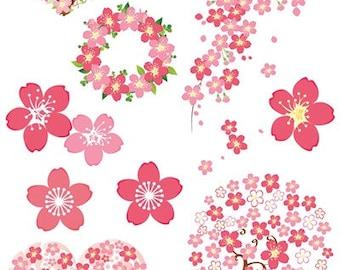 Sakura Cherry Blossoms Clip Art Clipart Spring Pink Flowers Graphic