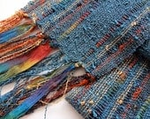 handwoven scarf lightweight in pewter blue