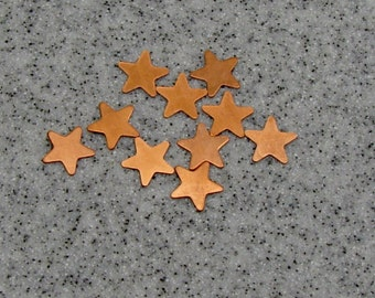 12mm Copper 5-Point Star 24 Gauge  Pack of 10