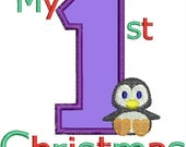 My first Christmas Penguin Applique designs INSTANT DOWNLOAD