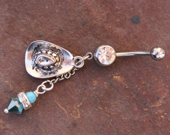 Cowboy Hat N Turquoise Crystals DeSIGNeR Belly Button Ring Blingy Rodeo Rhinestone Cowgirl