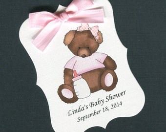 Personalized Baby Shower Favor Tags, teddy bear with pink gingham shirt, set of 40