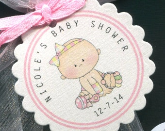 Personalized Baby Shower Favor Tags, baby girl, pink, set of 75