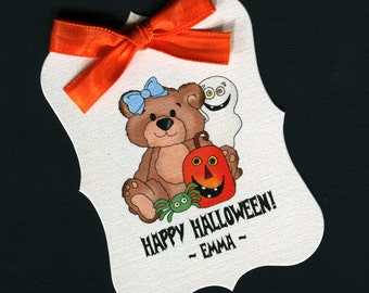 Large Personalized Halloween Favor Tags, teddy with pumpkin, set of 25