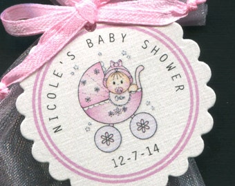 Baby Shower Favor Tags - Baby Girl - Personalized - Thank You Tags - Gift Tags - Pink - Baby Girl in Buggy - Candy Tags - Hang Tags - 70