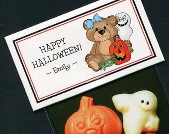 Personalized Halloween Party Favor Bag Topper Label With Teddy With Pumpkin and Ghost, Set of 25