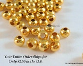100 Gold Spacer Beads 3mm Plated Round Iron Bead Hole 1mm - 100 pc - M7013-G100