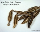 12 Antique Gold Feather Charms Single Sided 18x4mm Plated Brass - 12 pc - 6267-13