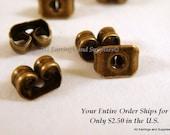 50 Bronze Butterfly Earnut Earring Backs Antique Plated Iron 5.5mm - 50 pc - F4016EN-AB50