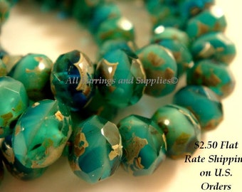 10 Green Turquoise Picasso Czech Fire Polished Faceted Rondelle Glass Beads 8x6mm - 10 pc - G6041-PGT10