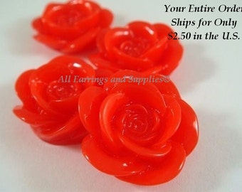 4 Red Cabochon Rose Resin 18mm - No Holes - 4 pc - CA2007-R4