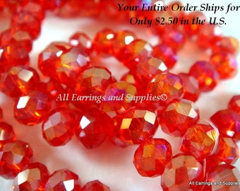 50 Red Glass Bead AB Rondelle Faceted Abacus 6x4mm - 50 pc - G6026-R50