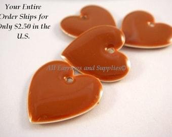 4 Caramel Heart Enamel Epoxy Beads Drops Double Sided 16mm - 4 pc - 4082