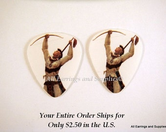 2 Indian Warrior Guitar Pick Single Sided - 2 pc - 6153 - Buy 5 designs, get 1 Free