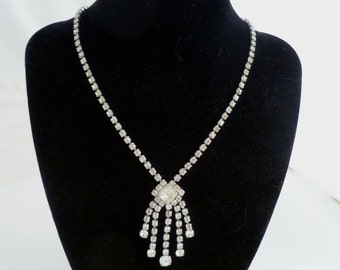 "Rhinestone necklace with a spray design - silver toned 15"", FREE SHIPPING"