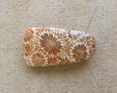 Fossil Coral designer free form pendant bead cabochon. Deep brown and cream flower formations. 115L0049