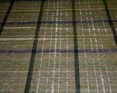 vintage 80s plaid fabric, featuring metallic gold and silver threads design, 1 yard, 2 available, priced PER YARD