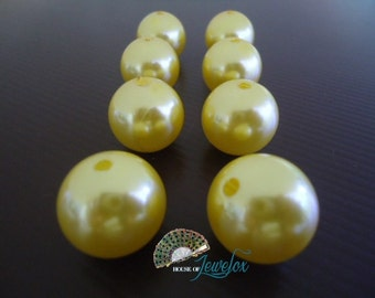 20mm Round YELLOW Pearl Acrylic Beads - 8x
