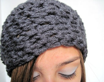 Grey Hat. Slouchy, Beret, Cap, Crocheted Hat, Chunky Hat, Male or Female, Unisex Hat, Gray Hat
