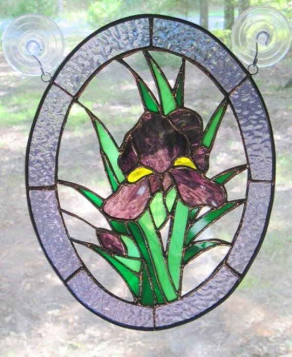 Stained Glass Panel Oval Iris In Purple