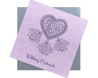 Wedding Congratulations Card - pink with silver envelope
