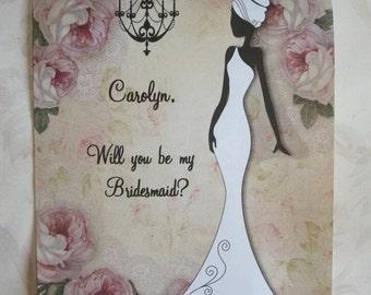 AFRICaN AMeRICAN BrIDE - Sillhouette - WILL You Be My BRIDESMAID - Custom - Elegant - Soft Roses - 8 notecards and envelopes - WYB 554545