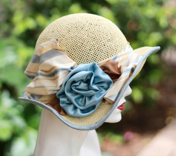 Trendy Summer Tea Party Garden Wedding Straw Hat Wide Brim Butter Cream and Pale Blue Large Flower