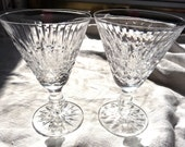2 Waterford Crystal Wine Stems- Tramore Claret- Red Wine Pedestal Stemware - Clear Cut Crystal Barware Set - 60s Design Pattern - Small 6 oz