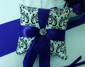 SALE DAMASK RINGBEARER Pillow- Was 26.95  Black White Madison Dsmask Ring Pillow Purple- Ready to Ship