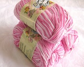 Creme de la Creme cotton yarn,  IN THE PINKS, Light Pink & white varigated 100% cotton worsted weight yarn