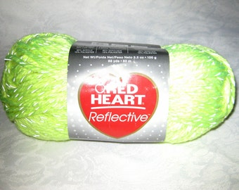 Red Heart Reflective yarn, Bright NEON YELLOW bulky weight yarn, glow in the dark yarn