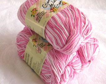 Creme de la Creme cotton yarn,  IN THE PINKS, Light Pink & white variegated 100% cotton worsted weight yarn