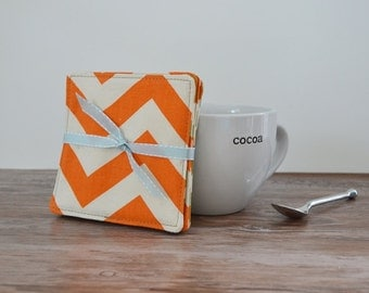Chevron Coasters Orange Coasters Fabric Coasters Green Coasters Set of 4