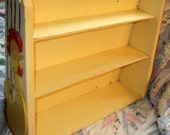 Vintage Happy Yellow Chicken Folk Art Wall Shelf - Rare & Unusual Piece Carved Hand Painted Chicken on Each Side of Shelf