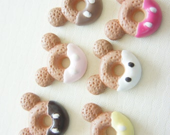 6 pcs Mouse Shaped with Bow Doughnut Cabochon (22mm20mm) CD492