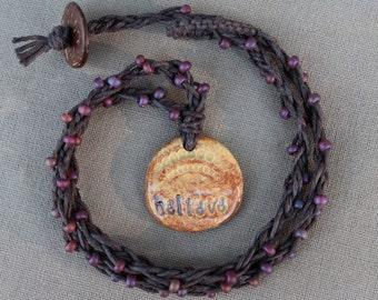 Believe... Hemp Beaded Necklace - Natural Hippie