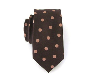 Mens Tie Necktie Chocolate Brown Taupe Dots Mens Neck Tie
